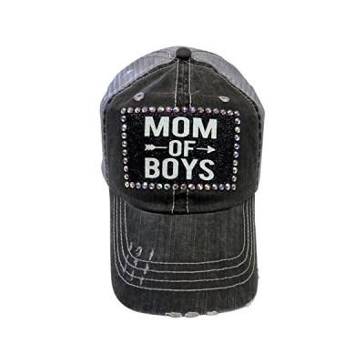 グリッター Mom of ボーイ w/スワロフスキー クリスタル グレー Trucker キャップ ハット ファッション(海外取寄せ品)