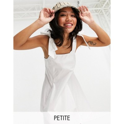 トップショップ Topshop Petite レディース ワンピース ミニ丈 ワンピース・ドレス poplin pinafore mini dress in white ホワイト