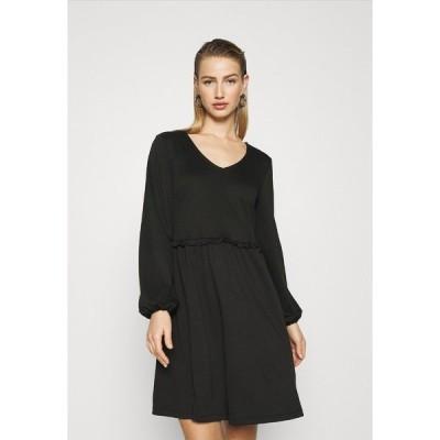ヴィラ ワンピース レディース トップス VITINNY V NECK DOLL DETAIL DRESS - Jersey dress - black