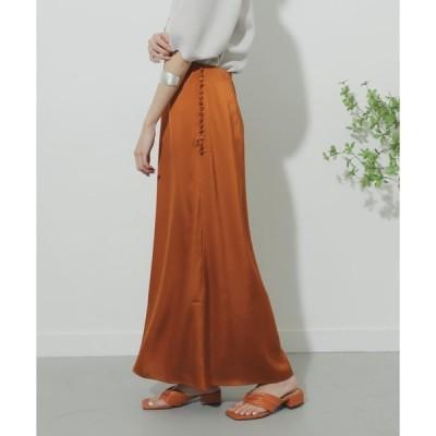 スカート クルミボタンサテンナロースカート