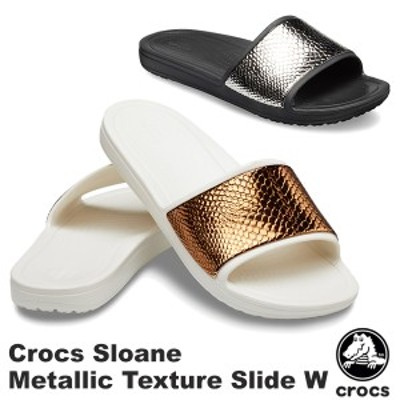 クロックス(CROCS) クロックス スローン メタリック テクスチャー スライド ウィメン(crocs sloane metallic texture slide w)[BB]【35】