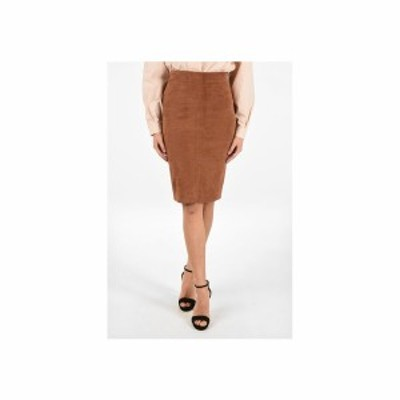 DROME/ドローメ Brown レディース Suede Leather Pencil Skirt with Zip Back Closure dk