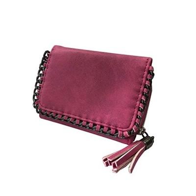三つ折り財布 メタルチェーン タッセル付き メタリックチェーン ミニ財布 かわいい おしゃれ 大人 カジュアル レディース 折財布 (ショッキングピン