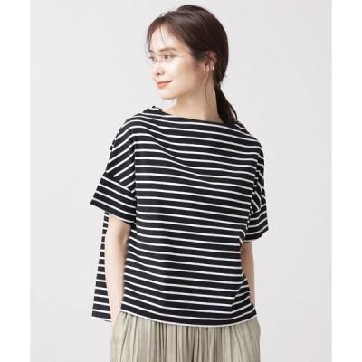 【ナノ・ユニバース】WEB限定/ボーダーワイドドロップTシャツ 半袖