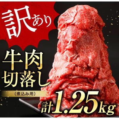 【訳あり】牛肉切落し(煮込み用)計1.25kg《都農町加工品》