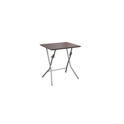 ds-2154588 折りたたみテーブル 【幅63.5cm ダークブラウン×ブラック】 日本製 木製 スチールパイプ 【代引不可】 (ds2154588)