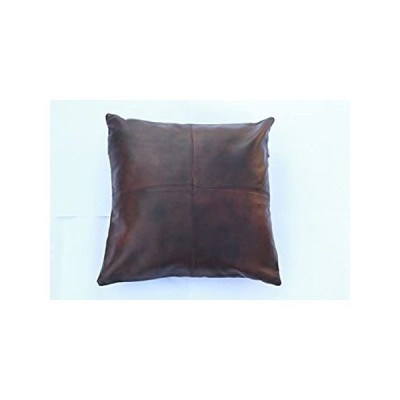 Leather Farm Thick Genuine Leather Pillow Cover Brown(Dual-Tone) Decorative