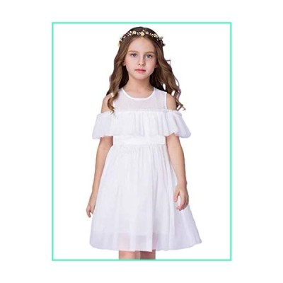 HILEELANG Toddler Girl Summer Cotton Tulle Tutu Party Dress Cold Shoulder Casual Flower Girl Dresses White 3T並行輸入品