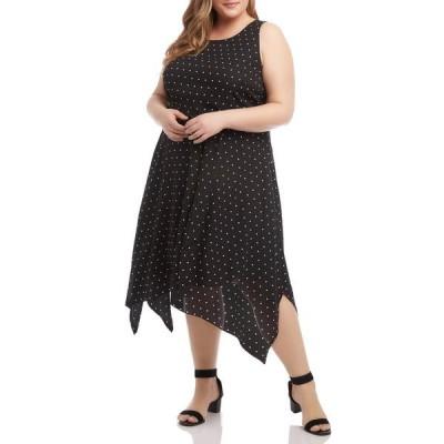 カレンケーン レディース ワンピース トップス Polka Dot Sleeveless Handkerchief Hem Dress BLK