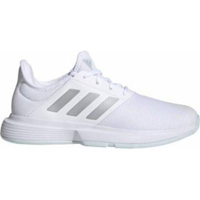 アディダス レディース スニーカー シューズ adidas Women's GameCourt Tennis Shoes White/Silver/Blue
