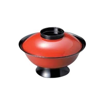 越前漆器 和食器 / (A)低型大名椀 朱つば黒5.5寸 寸法:16.3 x 10.9cm 600cc