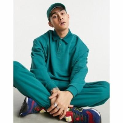 エイソス ASOS DESIGN メンズ スウェット・トレーナー トップス Asos Design Co-Ord Oversized Sweatshirt With Polo Collar In Green