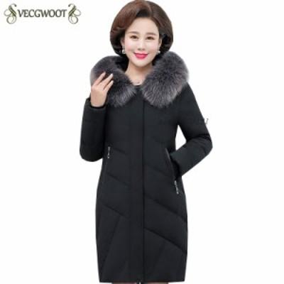 プラスサイズ冬 襟 女性 グルー ジャケット  毛皮 女性 ジャケット 暖かい 付き 新 ソリッドカラー 長袖 ファッション フード ダウン ダ