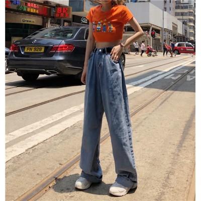 💖韓国ファッション超高品質💖細身効果抜群! 2019 ハイウエスト ゆったり デニム パンツ ジーンズ