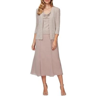 アレックスイブニングス レディース ワンピース トップス Cowl Neck Metallic Knit Chiffon 2-Piece Jacket Dress