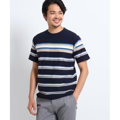 (TAKEO KIKUCHI/タケオキクチ)ミニパイルパネルボーダー半袖カットソー/メンズ ネイビー(393)