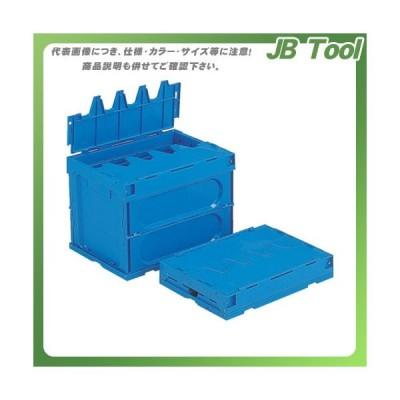 (個別送料1000円)(直送品)サンコー フタ一体型折りたたみコンテナー サンクレットオリコン38B青 SKSO-38B-BL