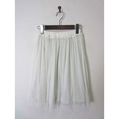 【中古】グラシア GLACIER スカート フレア チュール ストライプ柄 膝丈 M 白 美品 レディース