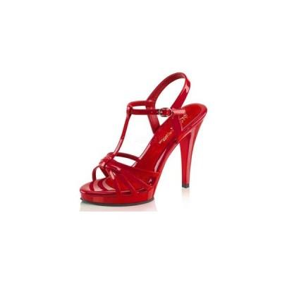 """サンダル Fabulicious プリーザー pleaser FLAIR-420 4 1/2"""" Heel fla420-r-m  エナメル Tストラップ 美脚 大きいサイズ有 靴 お取り寄せ商品"""