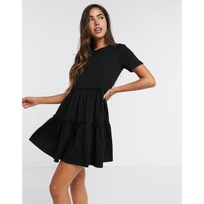 リバーアイランド レディース ワンピース トップス River Island tiered smock mini t-shirt dress in black