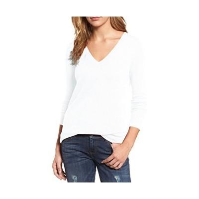 Viottiset Women's V Neck White Ribbed Knit Pullover Basic Sweater Long Slee