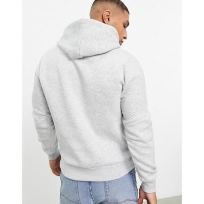 ジャック アンド ジョーンズ メンズ パーカー・スウェットシャツ アウター Jack & Jones Core hoodie with texture panel in gray Light gray melange