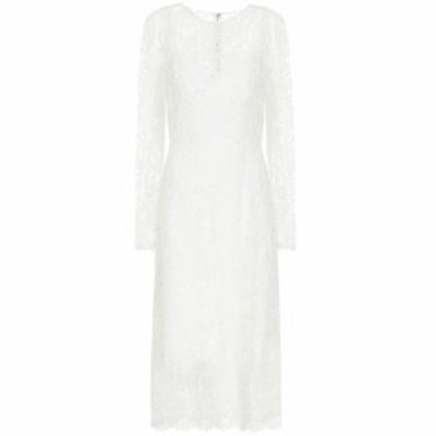 ドルチェandガッバーナ Dolce and Gabbana レディース ワンピース ミドル丈 ワンピース・ドレス Floral-lace midi dress White