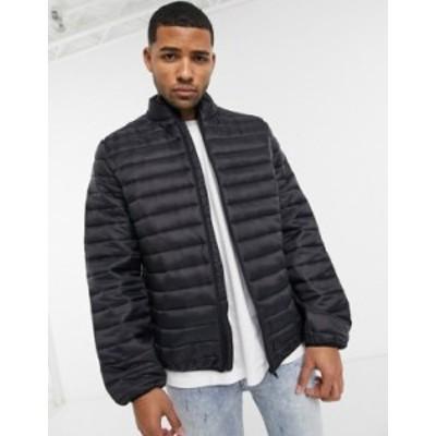 エイソス メンズ ジャケット・ブルゾン アウター ASOS DESIGN light weight puffer jacket with stand collar in black Black