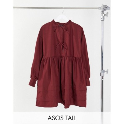 エイソス ASOS Tall レディース ワンピース ミニ丈 ASOS DESIGN Tall cotton poplin tie front mini smock dress with pin tucks in oxblood バーガンディ