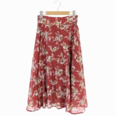 【中古】ジルスチュアート JILL STUART 19SS オータムバティックスカート フレア ロング 花柄 S 赤 レッド