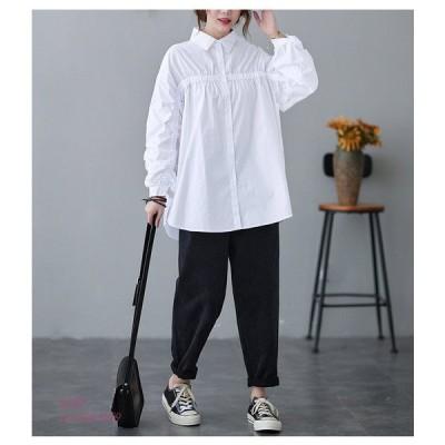 シャツ ロングシャツ ホワイトシャツ 白 フレディース 大きめ Aライン コットン チュニック 30代 40代 無地 リネン 長袖 白 綿 ボタン付き トップス