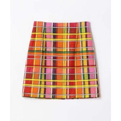 TOMORROWLAND / トゥモローランド ORANGE CHECK ハイウェストスカート