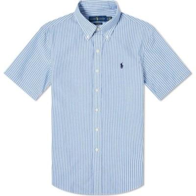 ラルフ ローレン Polo Ralph Lauren メンズ 半袖シャツ トップス short sleeve slim fit striped seersucker shirt Light Blue/White