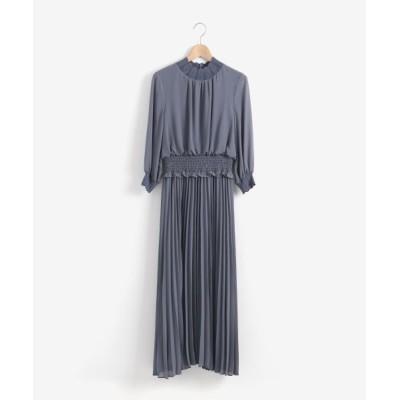 le.coeur blanc/ルクールブラン ウエストシャーリングスカラネックドレス ブルー 38