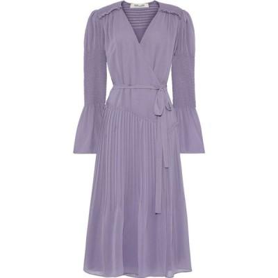 ダイアン フォン ファステンバーグ DIANE VON FURSTENBERG レディース ワンピース ラップドレス ani shirred pleated chiffon wrap dress Lavender