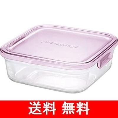 iwaki(イワキ) 耐熱ガラス 保存容器 ピンク 角型 M 800ml パックレンジ KC3247
