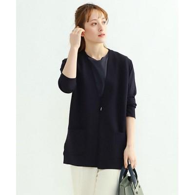 <INDIVI S(Women)/インディヴィS> 小さいサイズ 「S」ノーカラーニットジャケット グレー014【三越伊勢丹/公式】