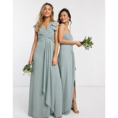 ティエフエヌシー レディース ワンピース トップス TFNC bridesmaid flutter sleeve ruffle detail maxi dress in sage