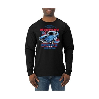 Ford Mustang Cobra Jet USA | Mens Planes/Trains/Automobiles Long Sleeve Tee Graphic T-Shirt, Black, 2XL