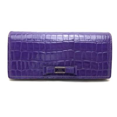 送料無料 ロベルタディカメリーノ 長財布 二つ折り L字ファスナー リボン クロコ型押し レザー 伊製 イタリア製 紫 パープル系 レディース