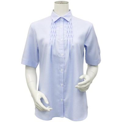 レディース ウィメンズ 五分袖 形態安定 デザインシャツ レギュラー衿 綿100% 白×サックス刺子風柄