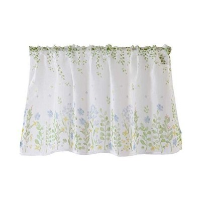 Sunny day fabric カフェカーテン ボタニカルフラワー 幅100cm x 丈45cm (ブルー) (ブルー 幅100×丈45cm)