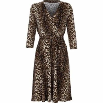 ユミ Yumi Curves レディース パーティードレス ラップドレス ワンピース・ドレス leopard print wrap dress MultiColoured