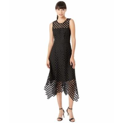 ミリー ワンピース トップス レディース Lattice Embroidery Handkerchief Hem Dress Black