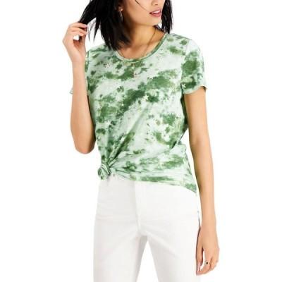 スタイル&コー Style & Co レディース Tシャツ トップス Cotton Tie-Dyed T-Shirt Galaxy Greens