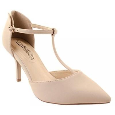 シティークラッシフィード レディース パンプス Cityclassified Comfort Shoes Women's Bahia-H Mid-Heel T-Strap Pat/Nub Pointed Pumps with Cushion Support