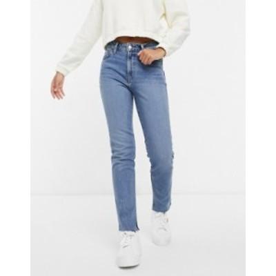 エイソス レディース デニムパンツ ボトムス ASOS DESIGN mid rise vintage 'skinny' jeans in midwash with split hem Midwash