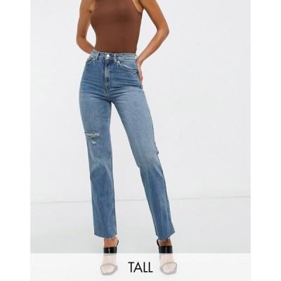 エイソス ASOS Tall レディース ジーンズ・デニム Asos Design Tall High Rise Stretch 'Effortless' Crop Kick Flare Jeans In Midwash With Thigh Rip