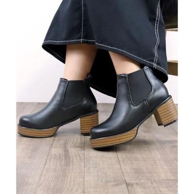 ブーツ 厚底プラットフォームサイドゴアショートブーツ スタックヒール スタックソール