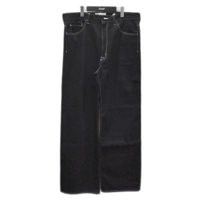 SASQUATCHfabrix. 21SS FLARE SILHOUETTE 5POCKET PANTS コットンパンツ ブラック サイズ:XL (四